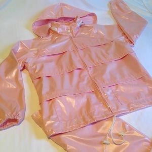80s Pearl Pink Rain Suit - Wild & Rare!! COOL IT!